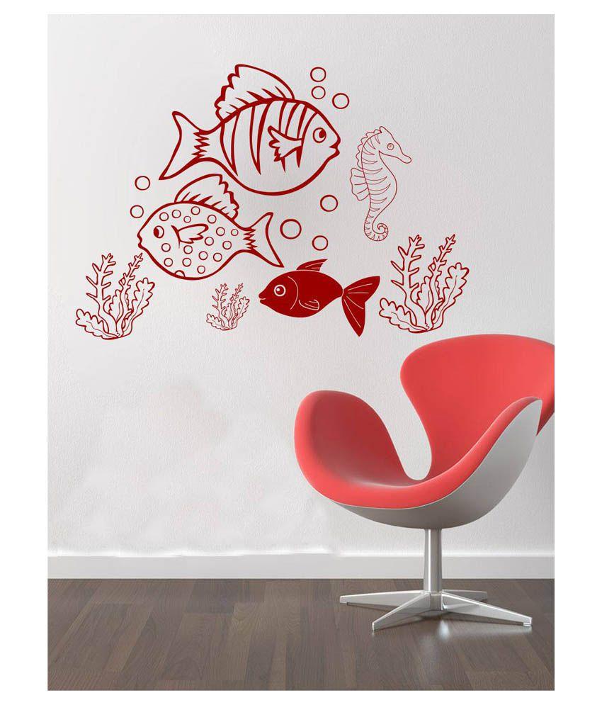 Fish aquarium india price - Eight2ten Red Pvc Fish Aquarium Wall Sticker
