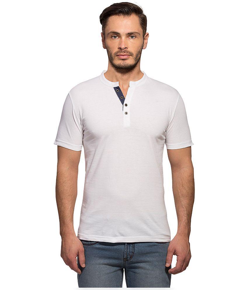 Maniac White Henley T Shirt