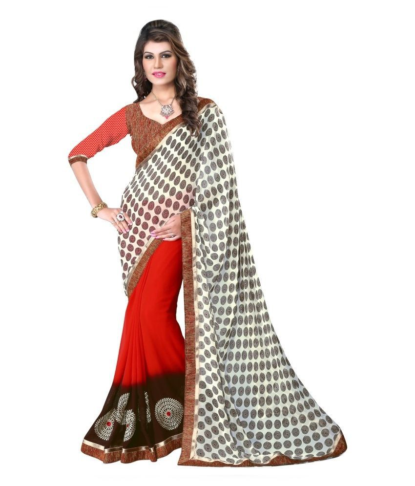 Aagaman Fashions Multicoloured Georgette Saree