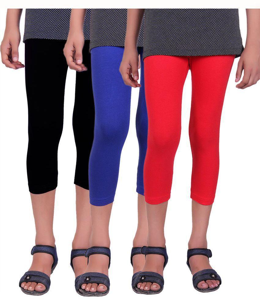 Alisha Multicolour Cotton Capries for Girls - Pack of 3