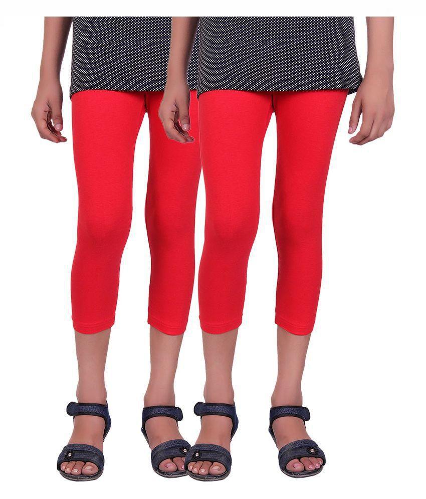 Alisha Red Cotton Capri - Pack of 2