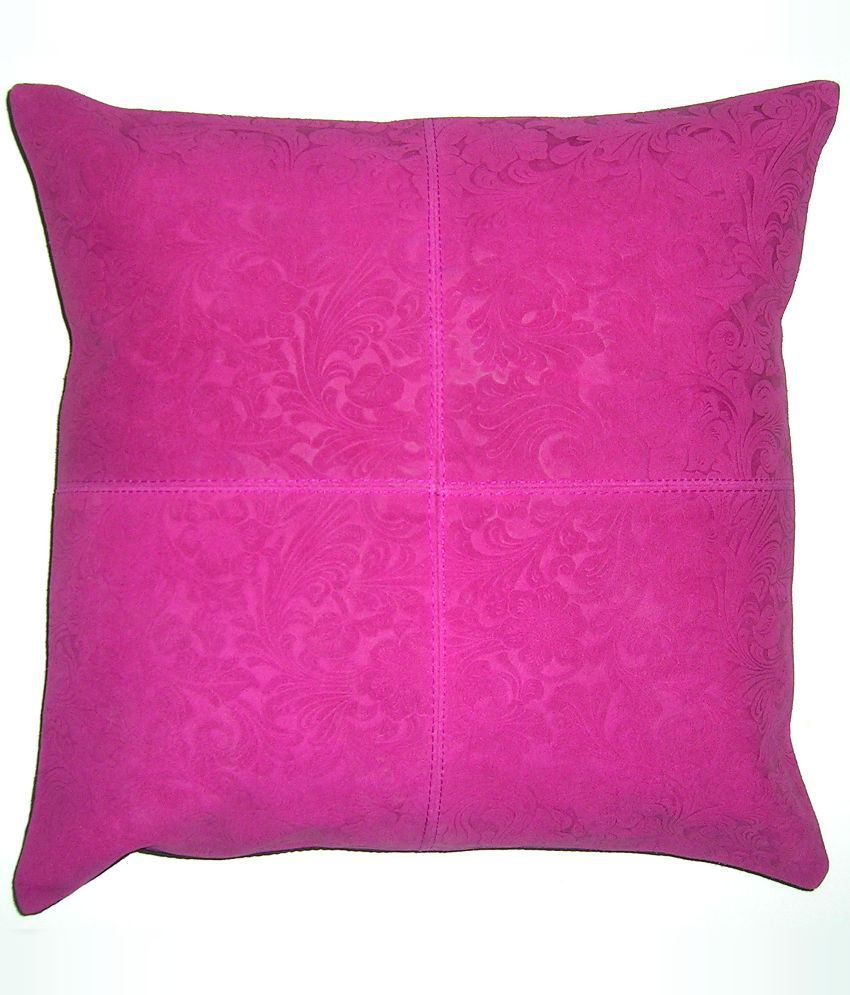Chic Antique Pink Floral Leather Cushion Cover - 40x40 cms