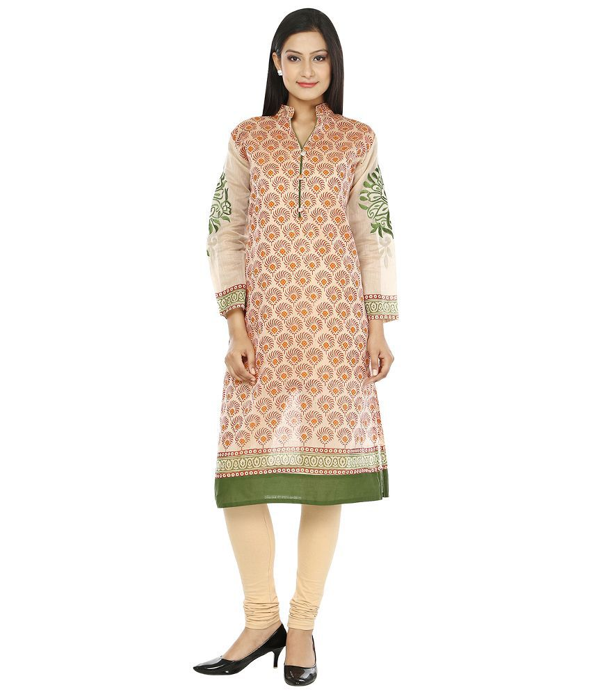 My Swag Beige Cotton Straight Kurti