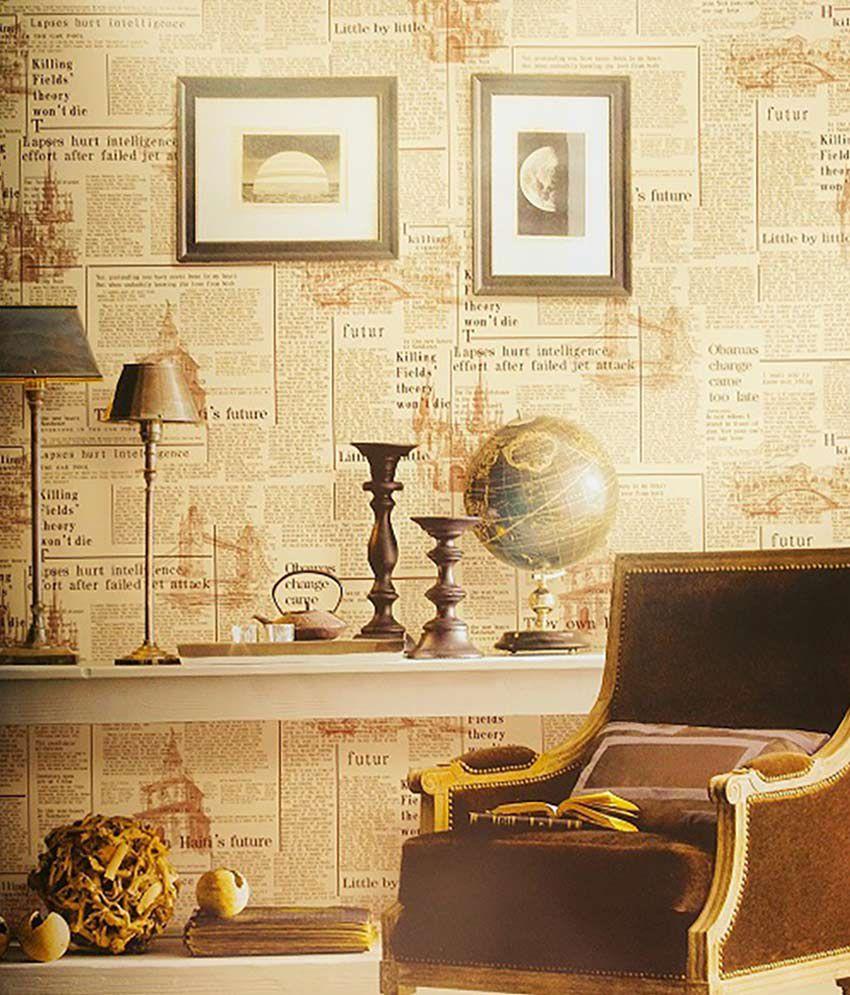 Samsons India Newspaper Look Vinyl Wallpaper In Cream Tone ...