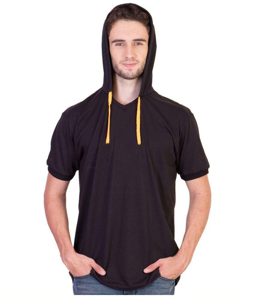 Weird Black Hooded T Shirt No