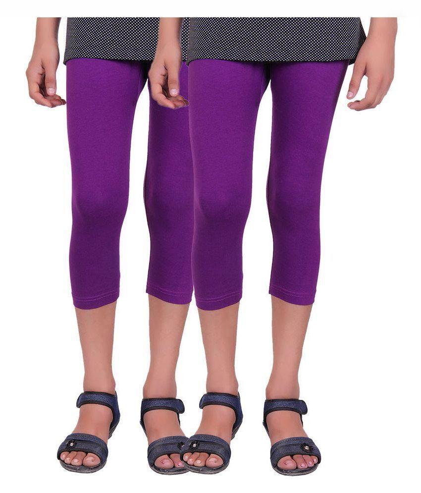 Alisha Purple Cotton Lycra Capri - Pack of 2