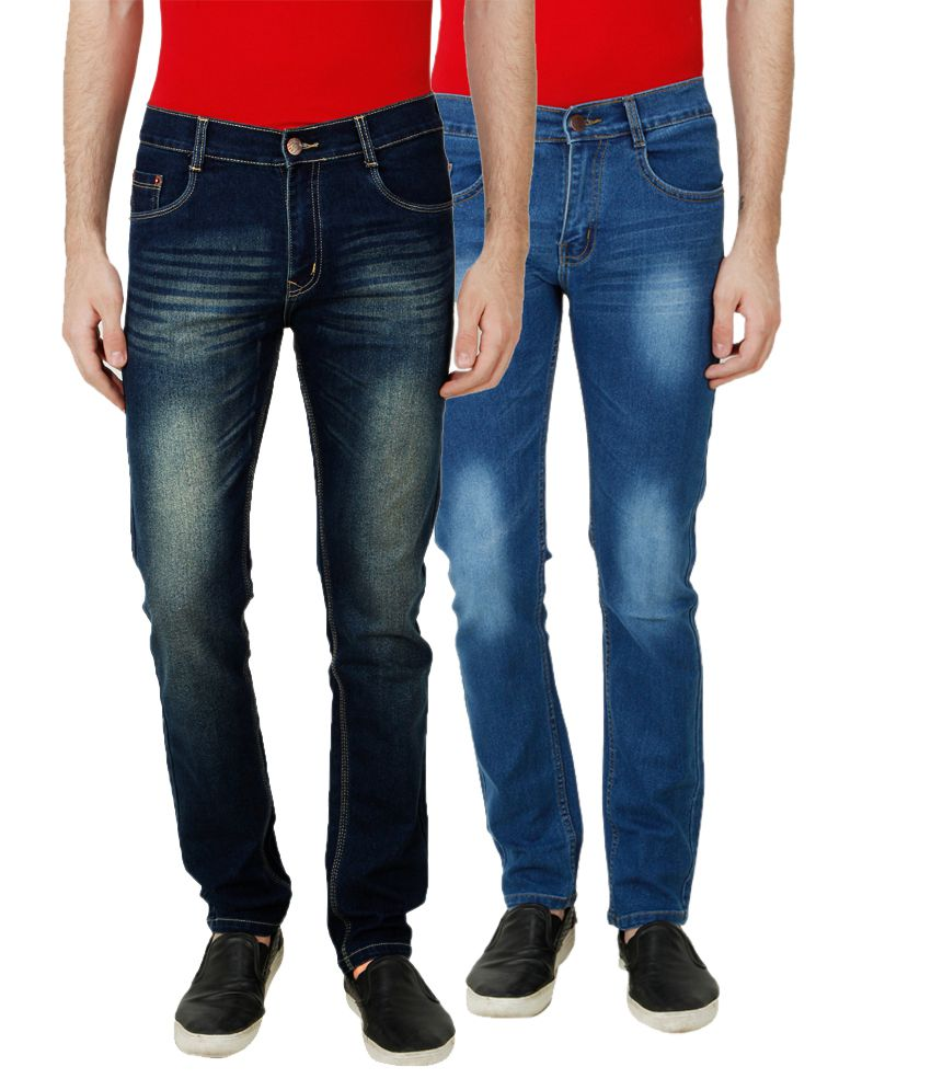 Ansh Fashion Wear Multi Slim Fit Faded Jeans Pack of 2