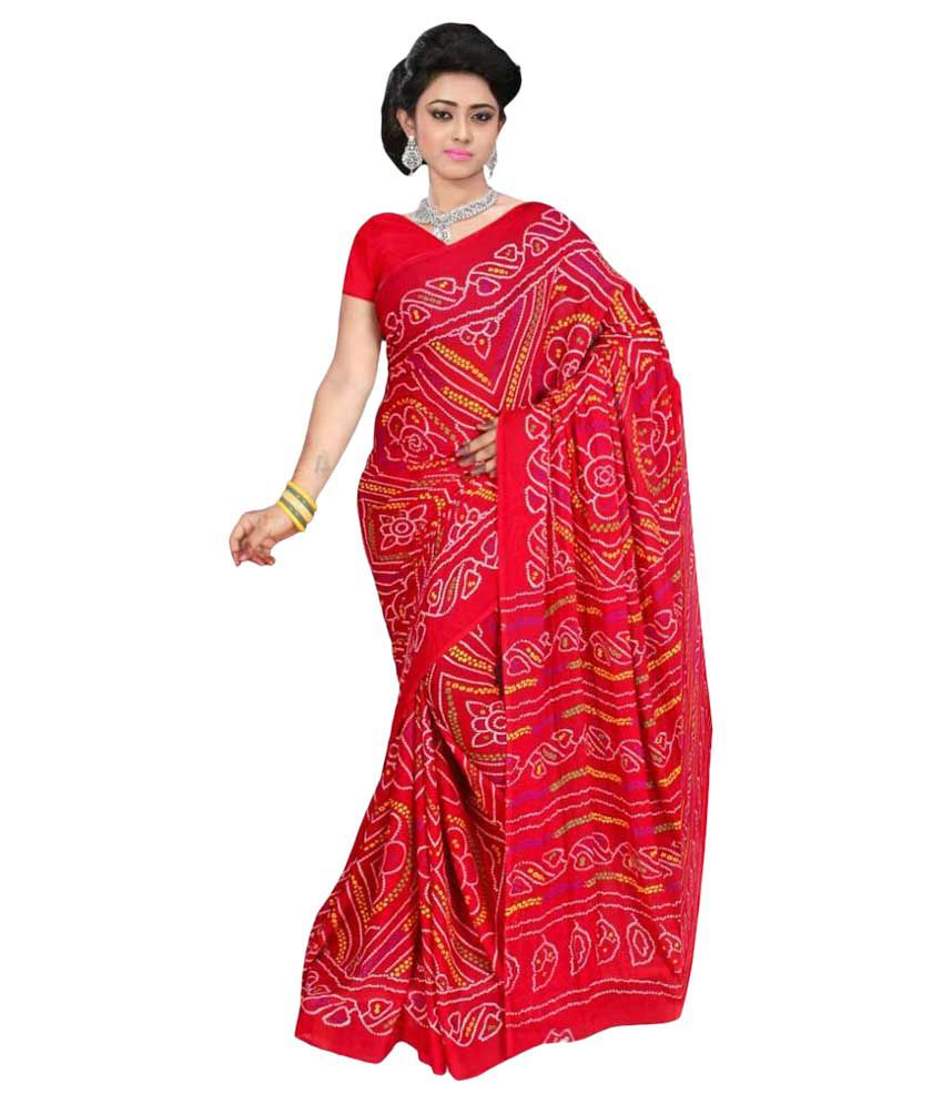 83e5052128 Govindam Red Crepe Bandhani Saree - Buy Govindam Red Crepe Bandhani Saree  Online at Low Price - Snapdeal.com
