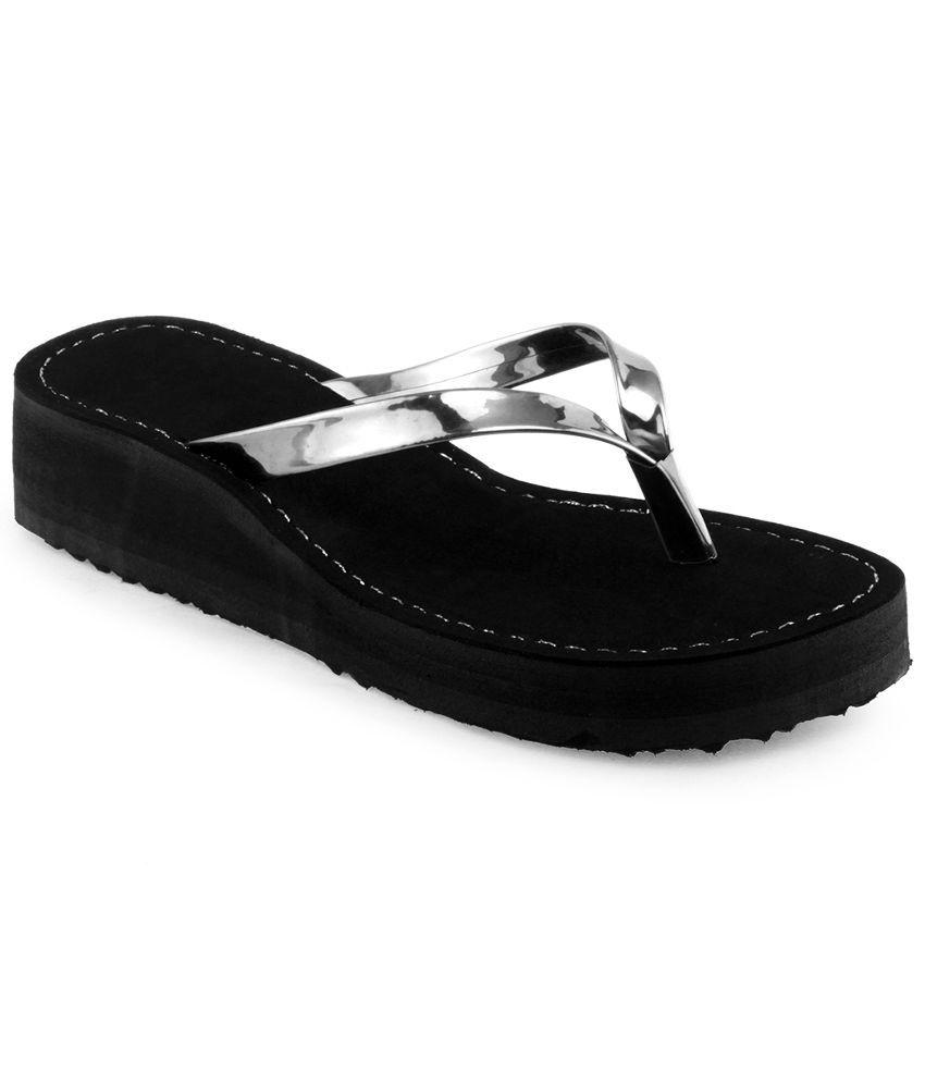 Shoe Lab Silver Flip Flops