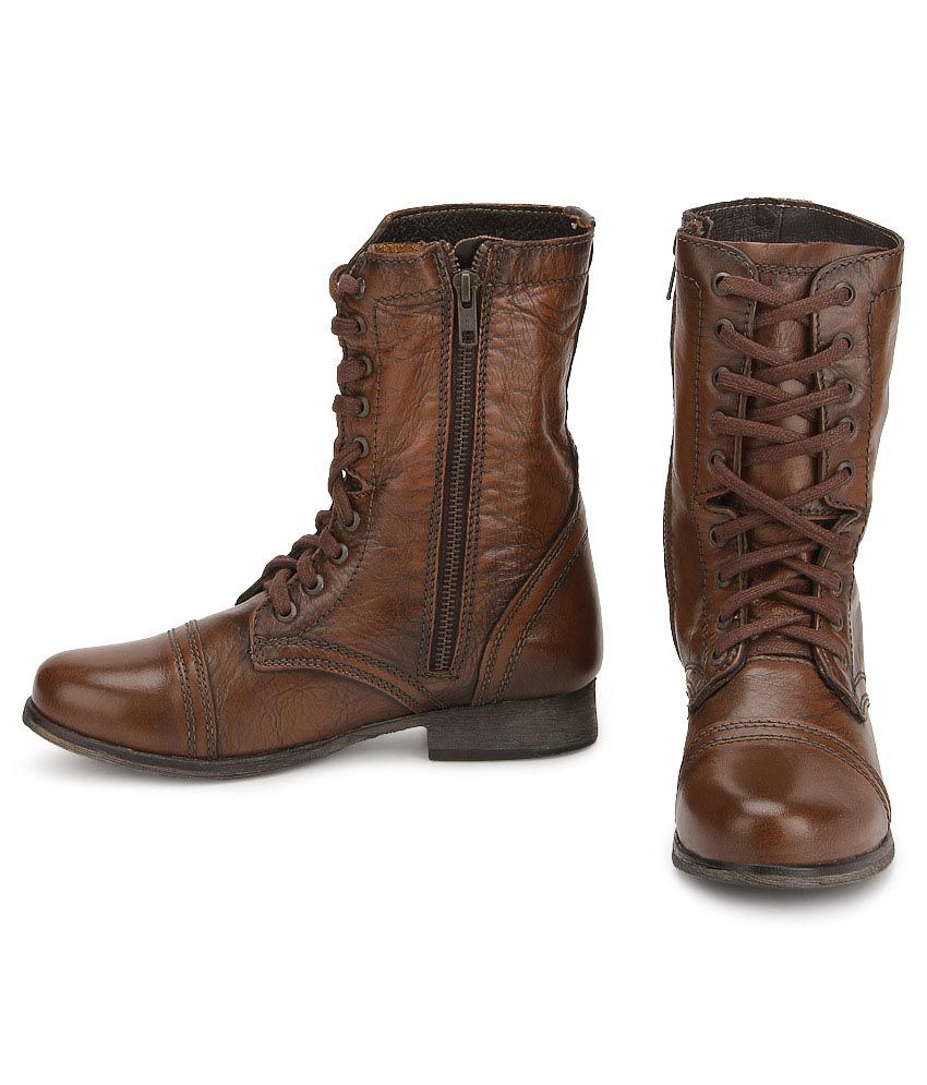 c81b3670401 Steve Madden Troopa Brown Boots Price in India- Buy Steve Madden ...