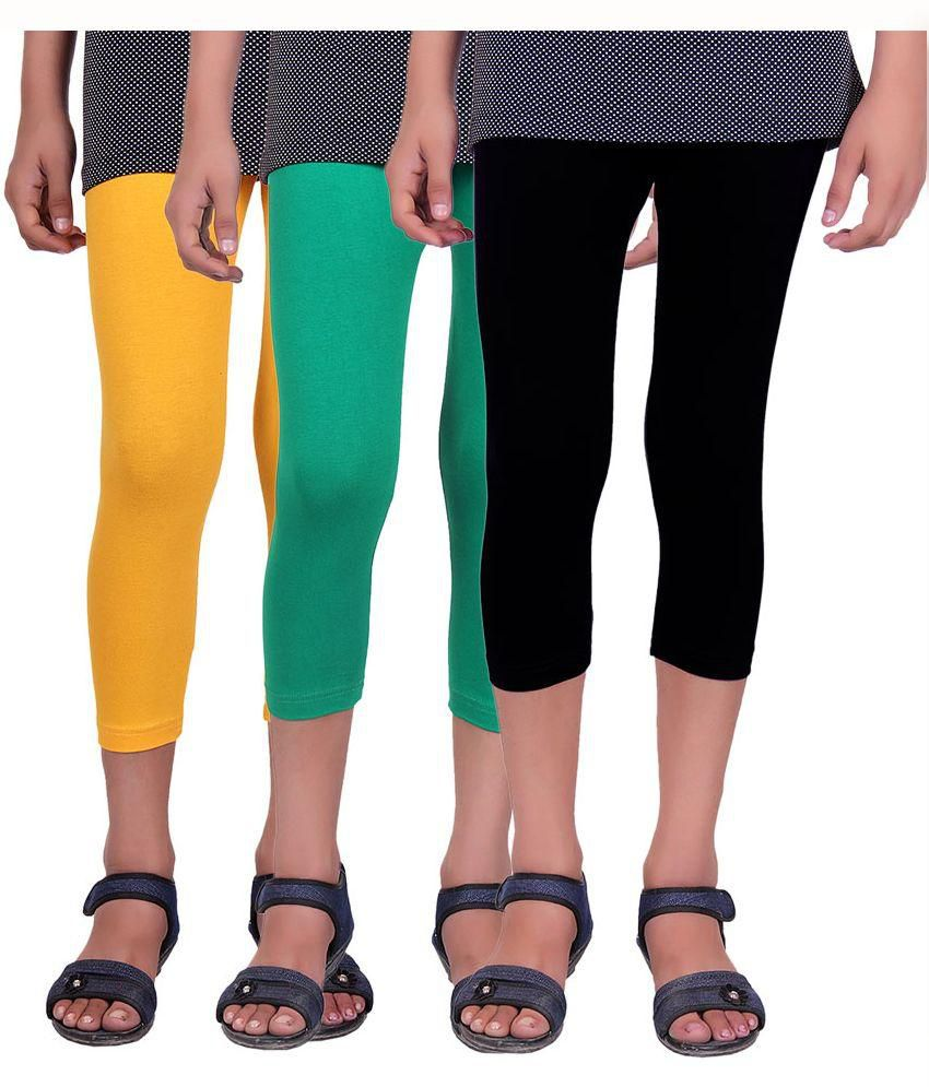 Alisha Multi Color Cotton Lycra Capri - Pack of 3