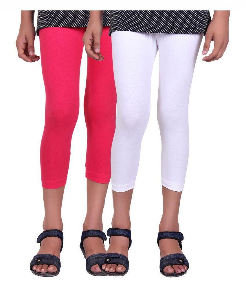 Alisha Multicolor Cotton Capri For Girls - Pack of 2