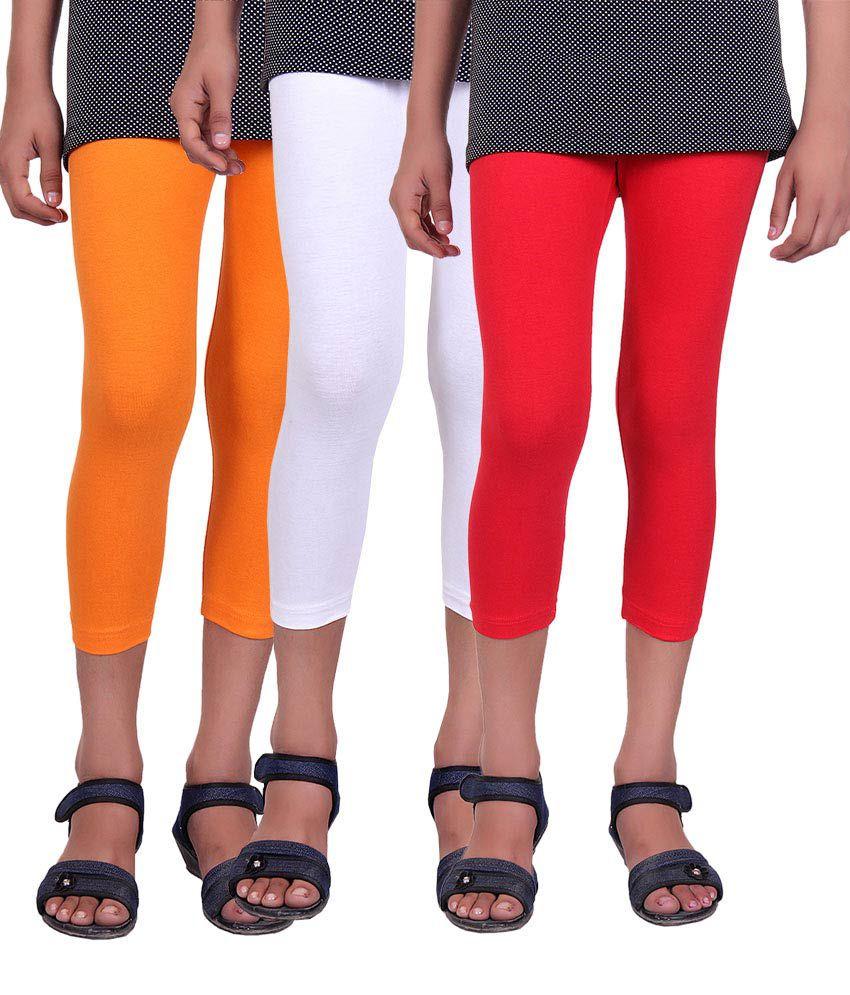 Alisha Multicolour Cotton Capri for Girls - Set of 3