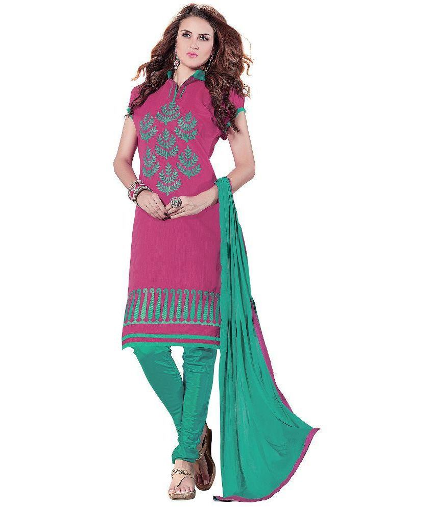 Birdsong Pink Chanderi Straight Unstitched Dress Material