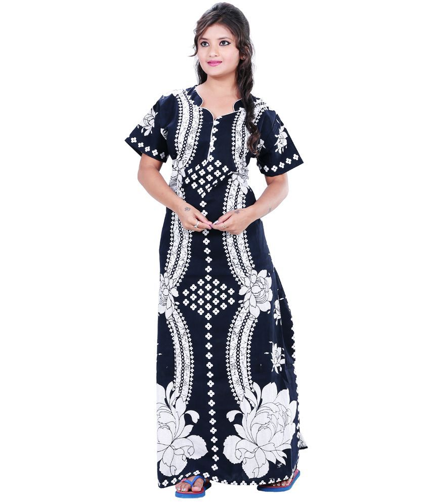 15b183c53c Buy Maharani Black Cotton Nighty   Night Gowns Online at Best Prices in  India - Snapdeal
