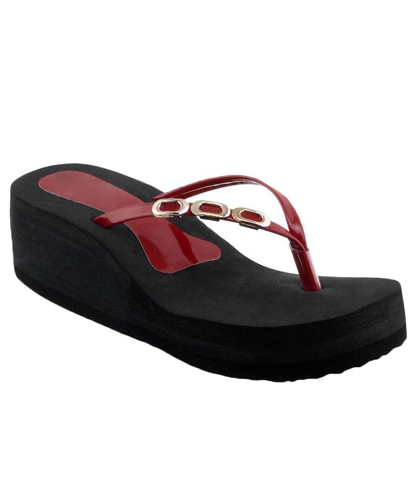 Shoe Lab Maroon Flip Flops