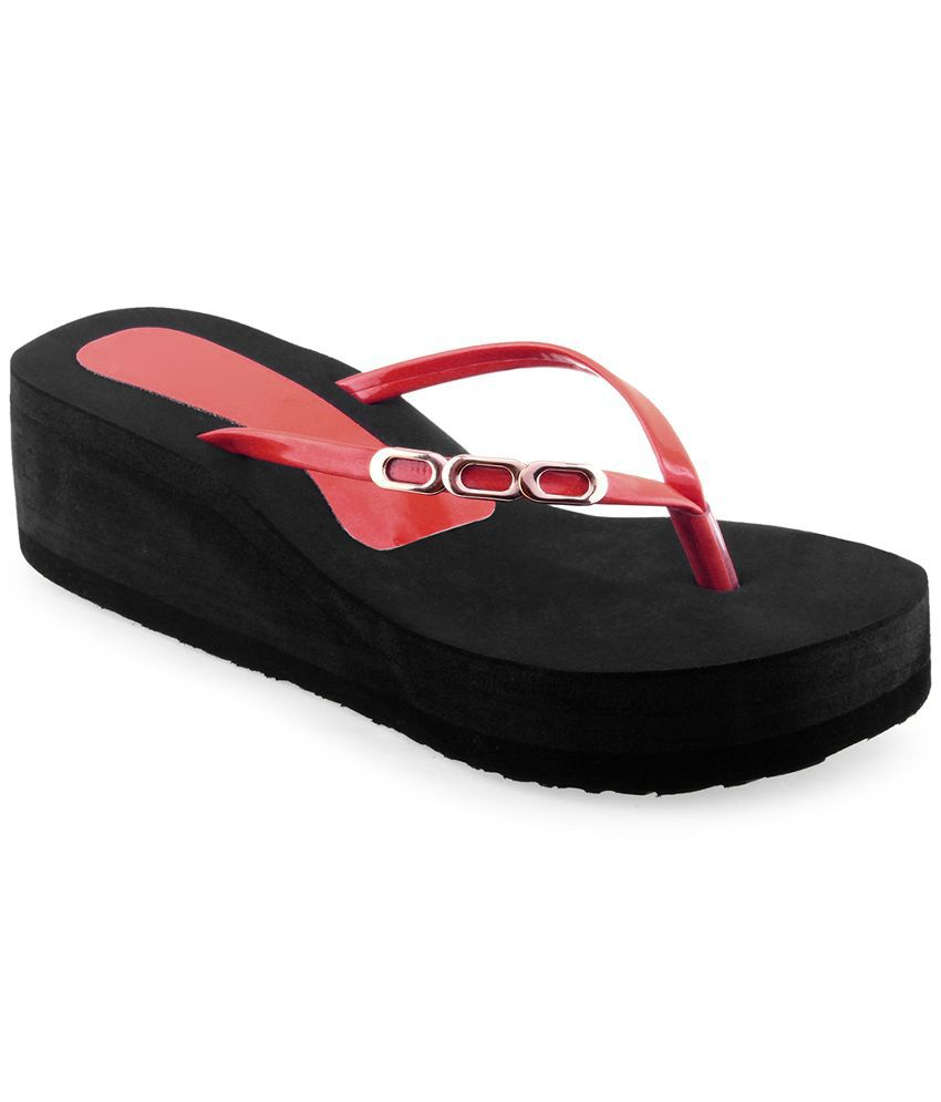 Shoe Lab Red Flip Flops