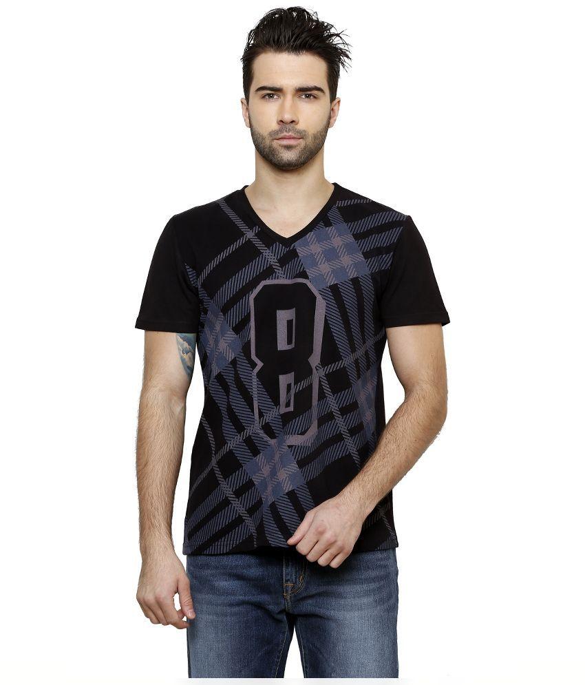 Desinvolt Black V-Neck T Shirt
