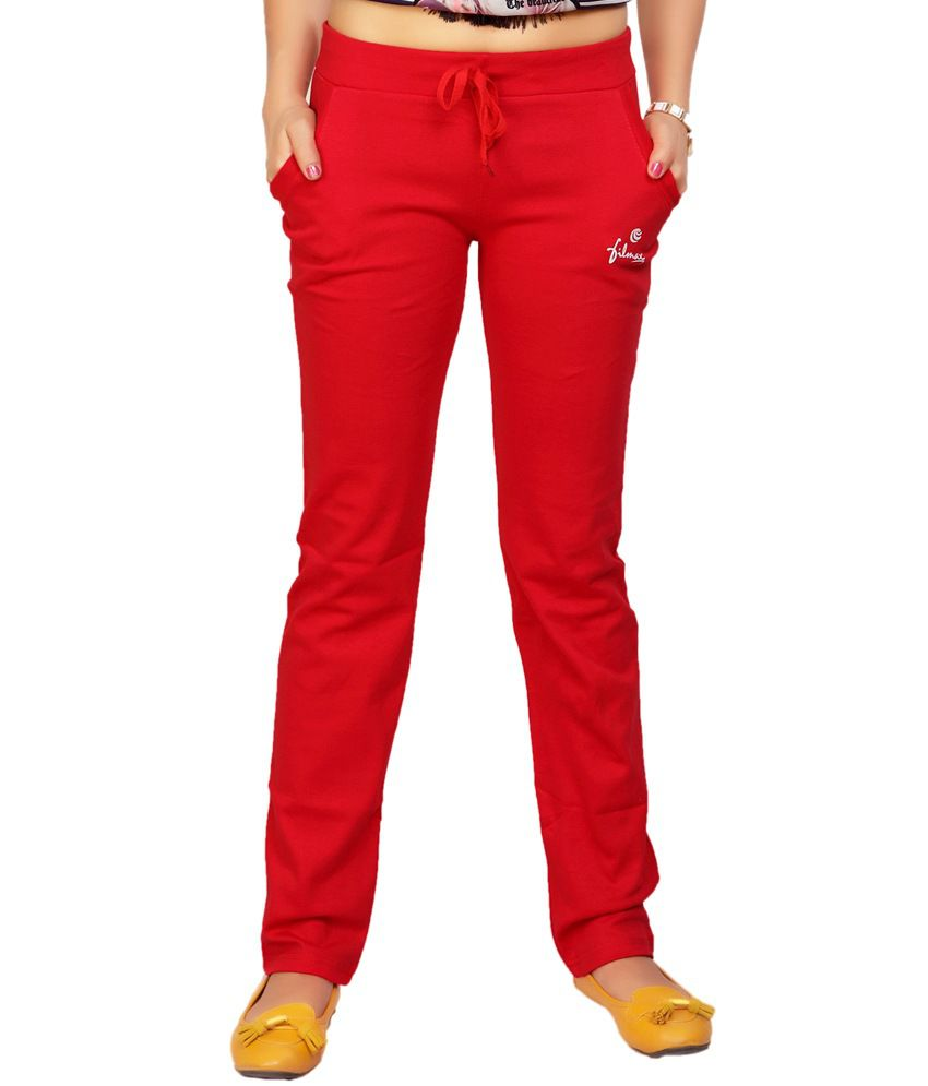 Filmax Originals Women's Sports Gym Yoga Joggers Track Pant - Red