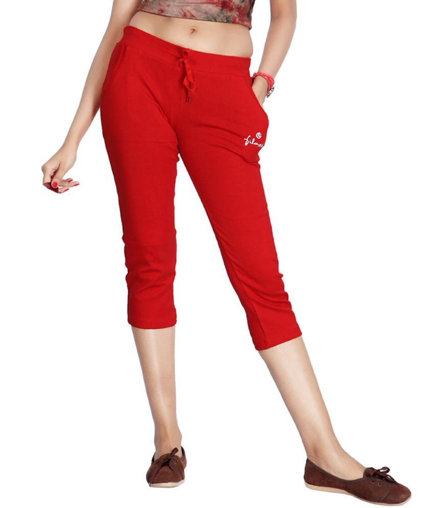 Filmax Originals Women's Sports Gym Yoga Joggers Pant - Red