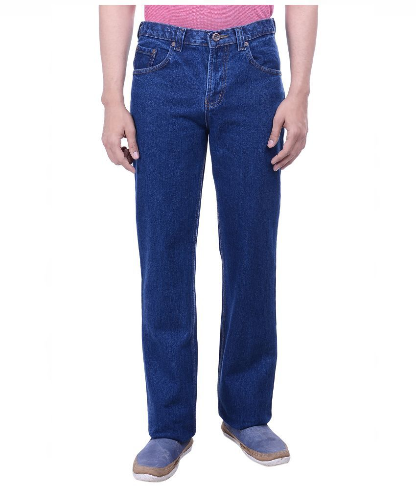 Hoffmen Blue Regular Fit Solid Jeans