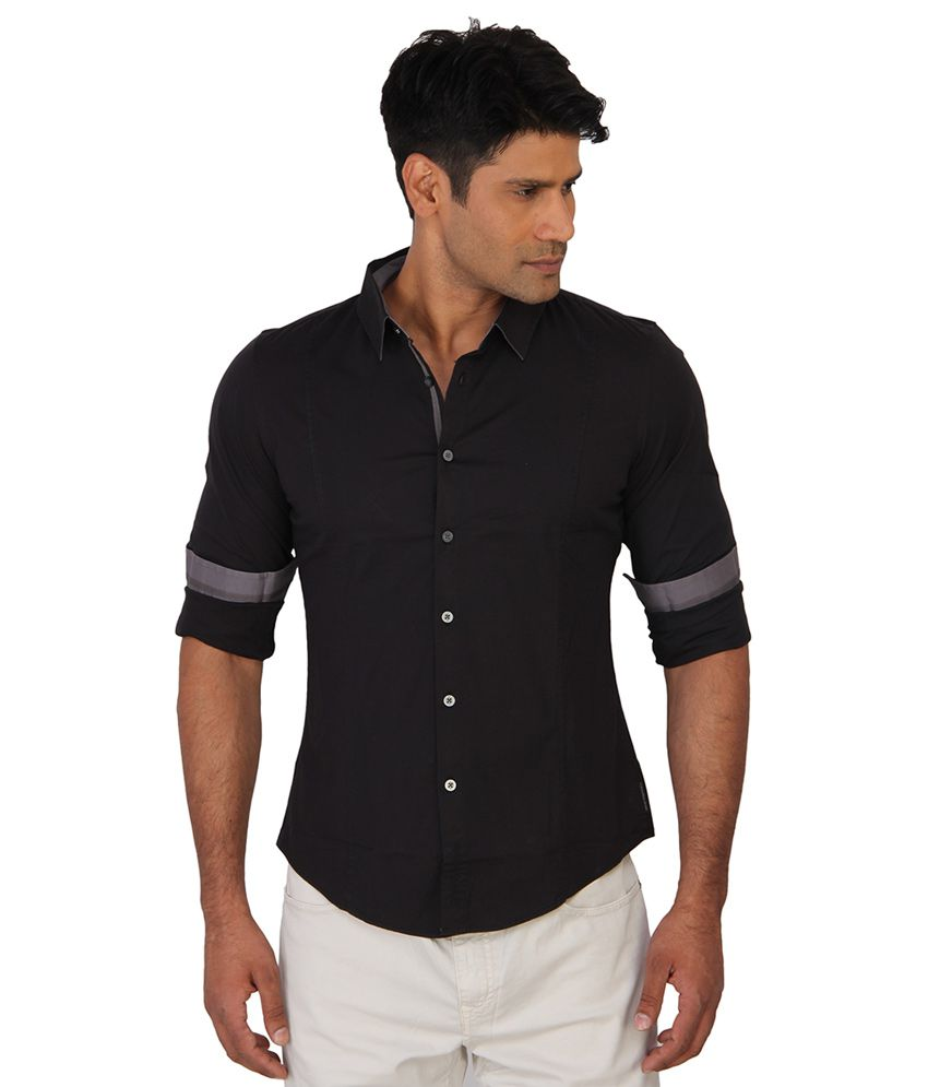 ff5d3179b4 Calvin Klein Jeans Black Slim Fit Casual Shirt - Buy Calvin Klein Jeans  Black Slim Fit Casual Shirt Online at Best Prices in India on Snapdeal