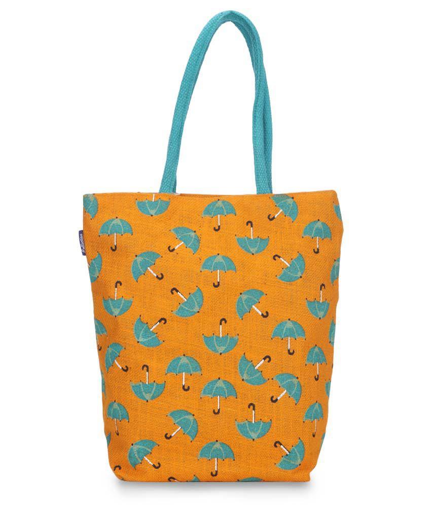 Honey By Pantaloons Orange Jute Tote Bag