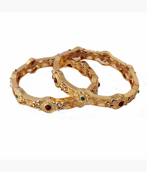 Variation  Alloy Gold Plating Stones Studded Multi Coloured Pair Of Bangles
