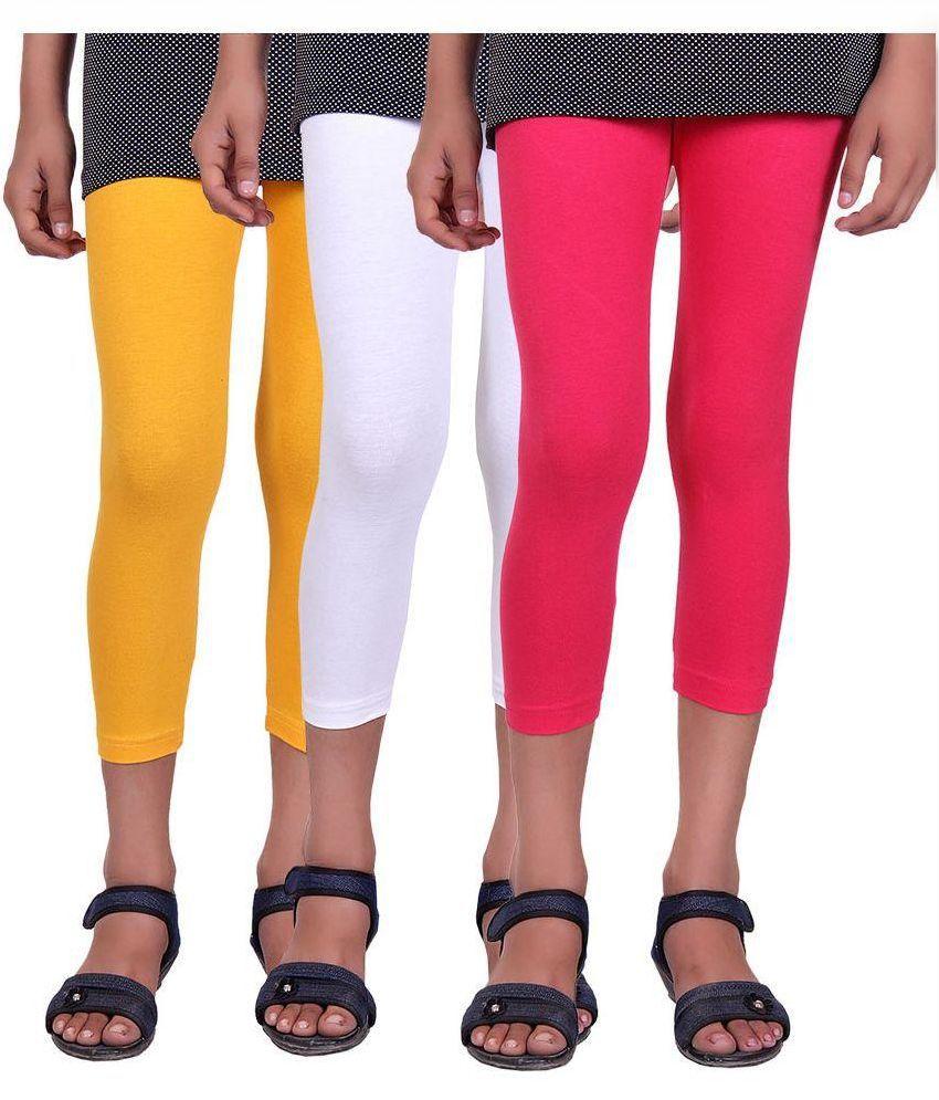 Alisha Multicolor Cotton Lycra Kids Capri - Pack Of 3