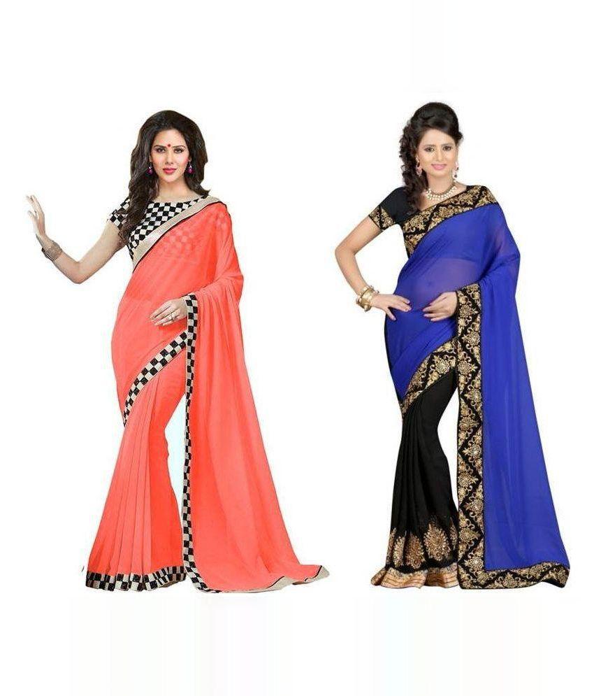 Bhuwal Designer Multicoloured Georgette Saree Combos