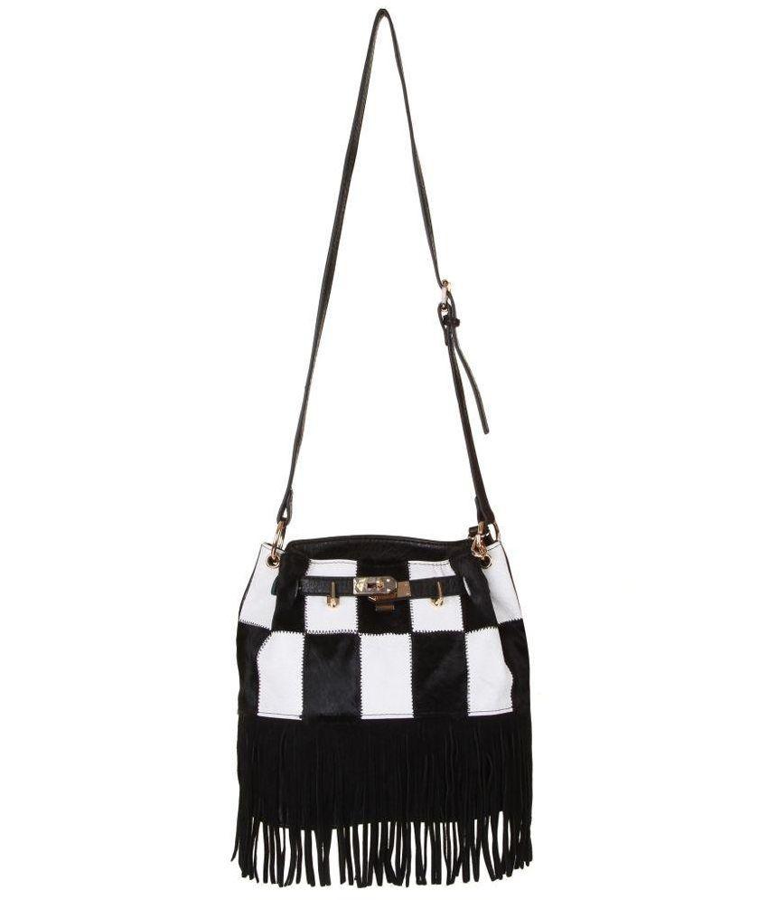 Kleio Black Faux Leather Sling Bag