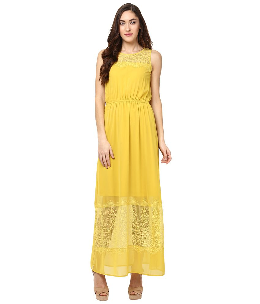 d80ed11facd5 109 F Yellow Solid Maxi Dress - Buy 109 F Yellow Solid Maxi Dress Online at  Best Prices in India on Snapdeal