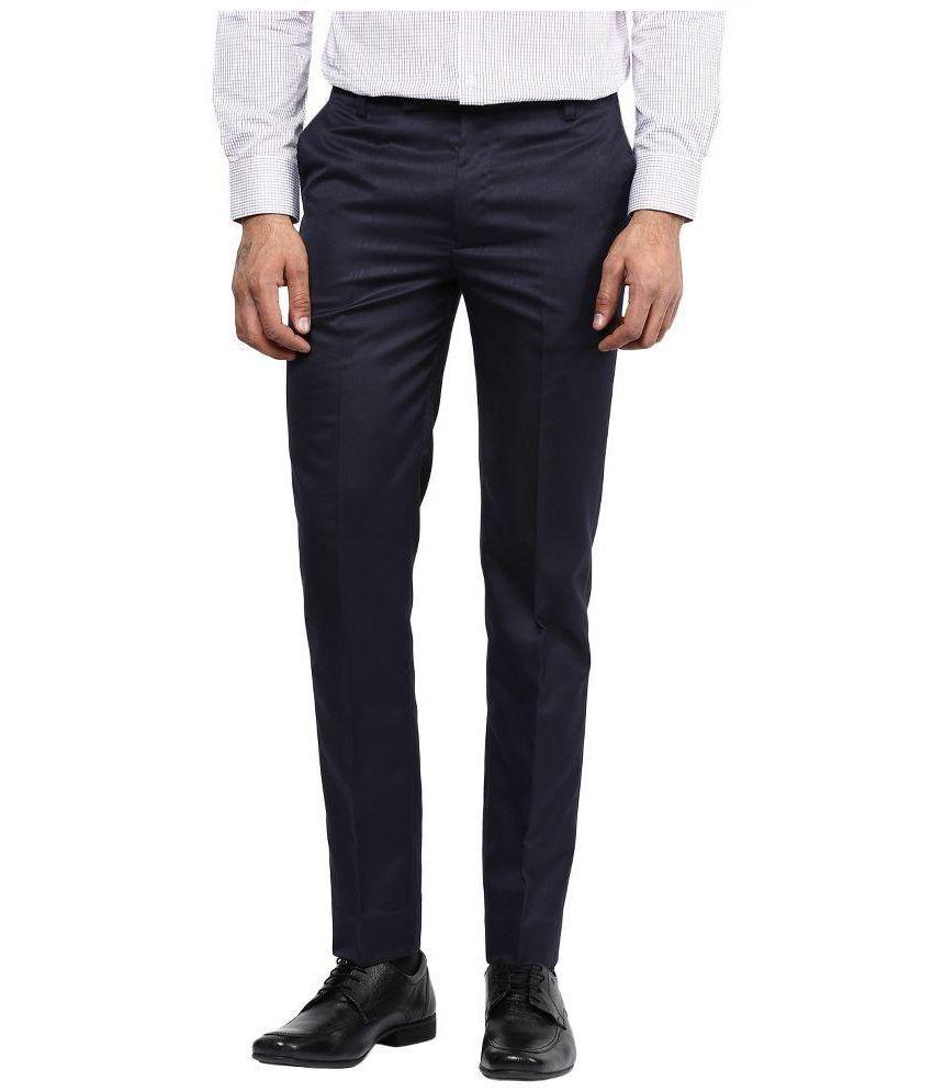 BUKKL Blue Regular Flat Trouser
