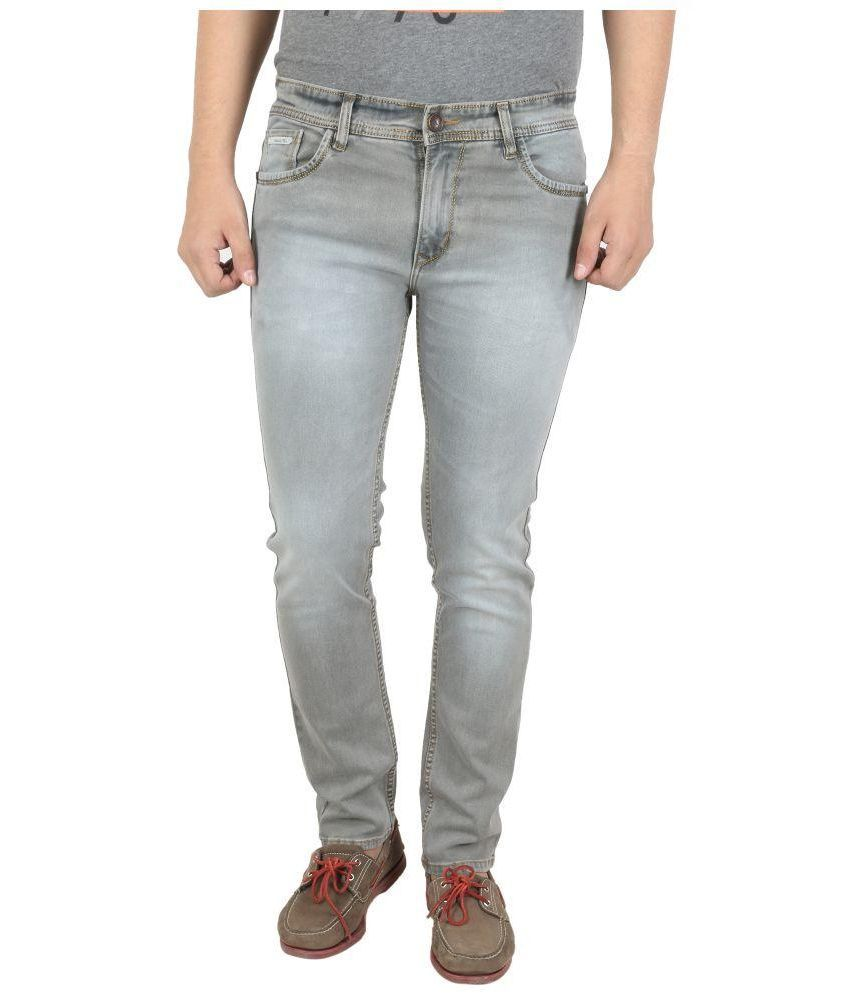 Latino 68 Grey Slim Fit Washed Jeans