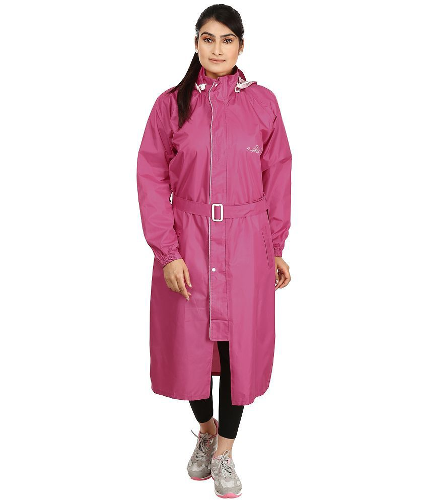 Rainfun Pink Polyester Long Raincoat