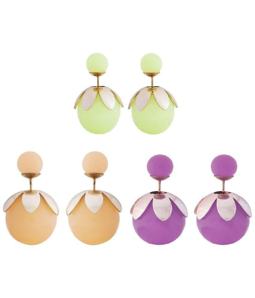 Shining Jewel Double Pearl Bauble Earring Combo Gift  Pack of 3