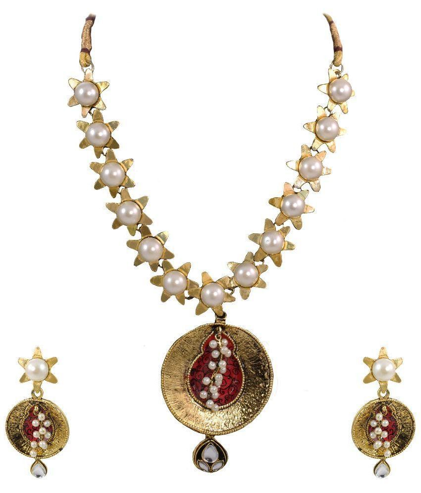 Zaveri Pearls Alloy Gold Plating Pearls Studded Gold Coloured Necklaces Set