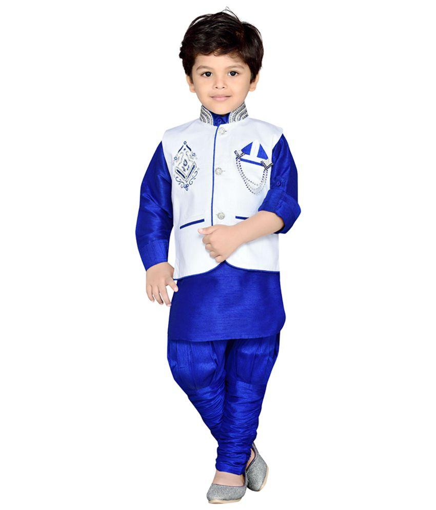 AJ Dezines Blue Kids Kurta, Waistcoat and Breeches Set