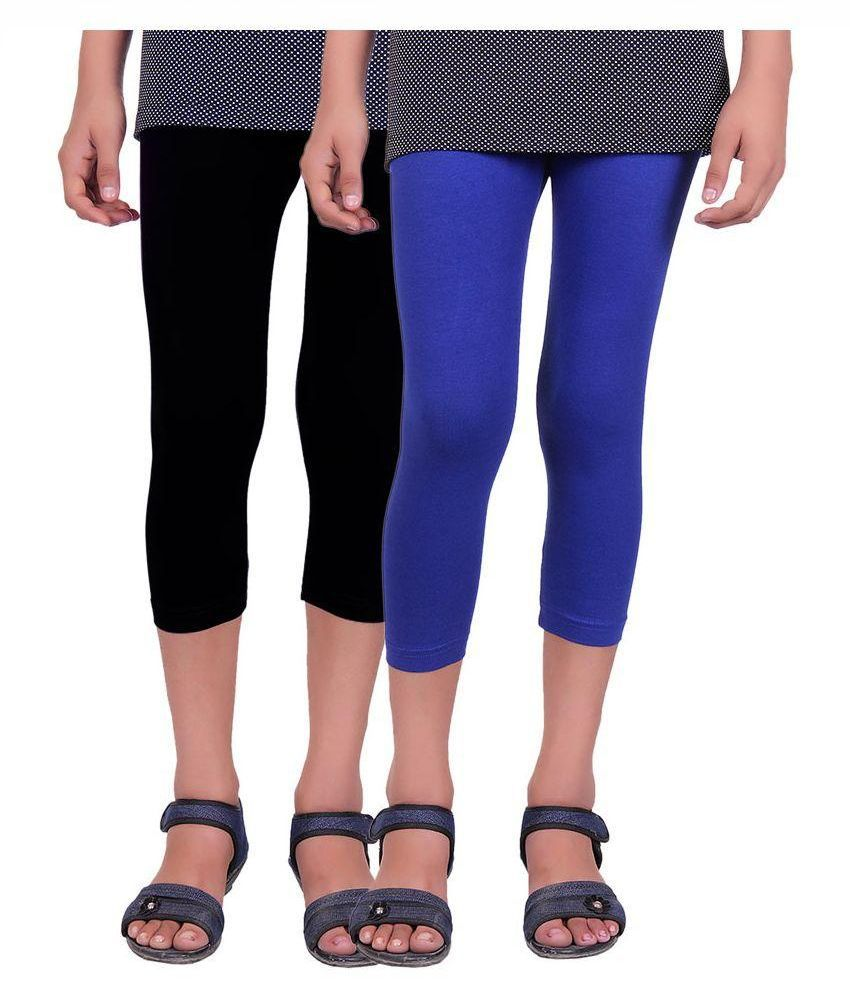 Alisha Black and Blue Cotton Capri - Pack of 2