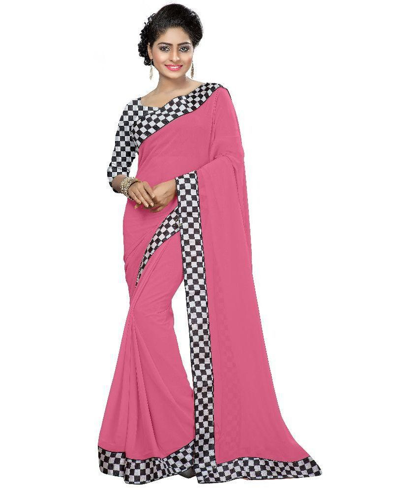 Mithila Creation Pink and Grey Georgette Saree