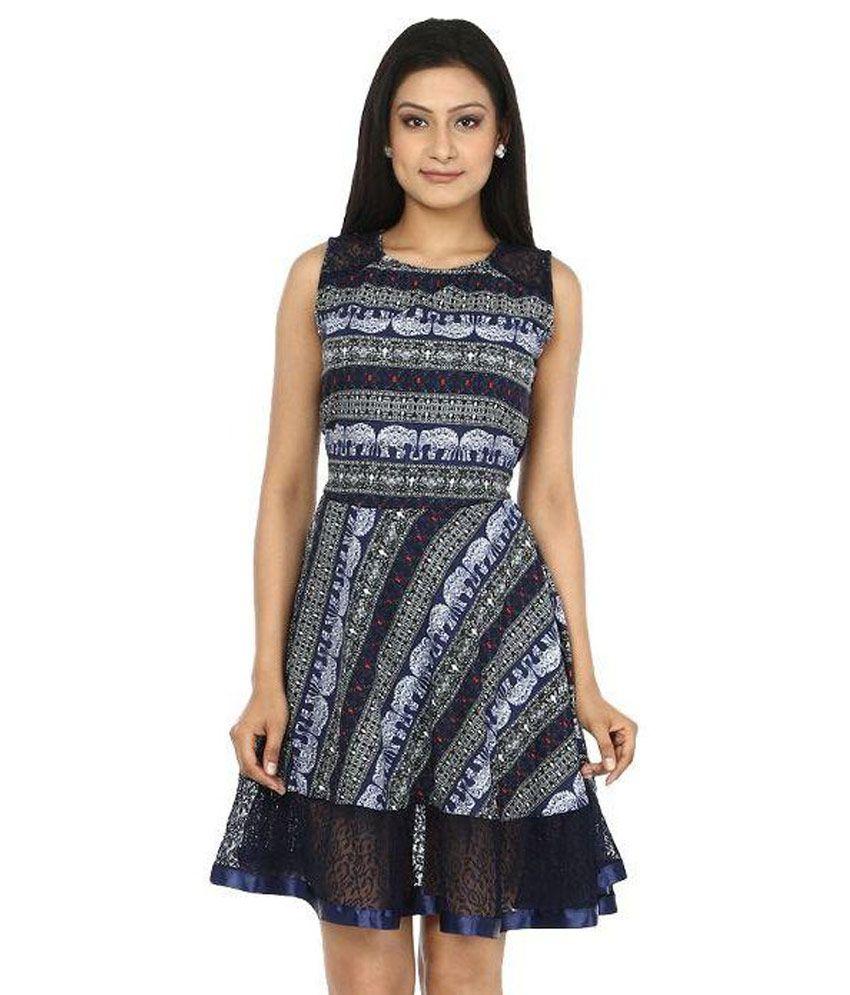 My Swag Multi Color Crepe A Line Dress