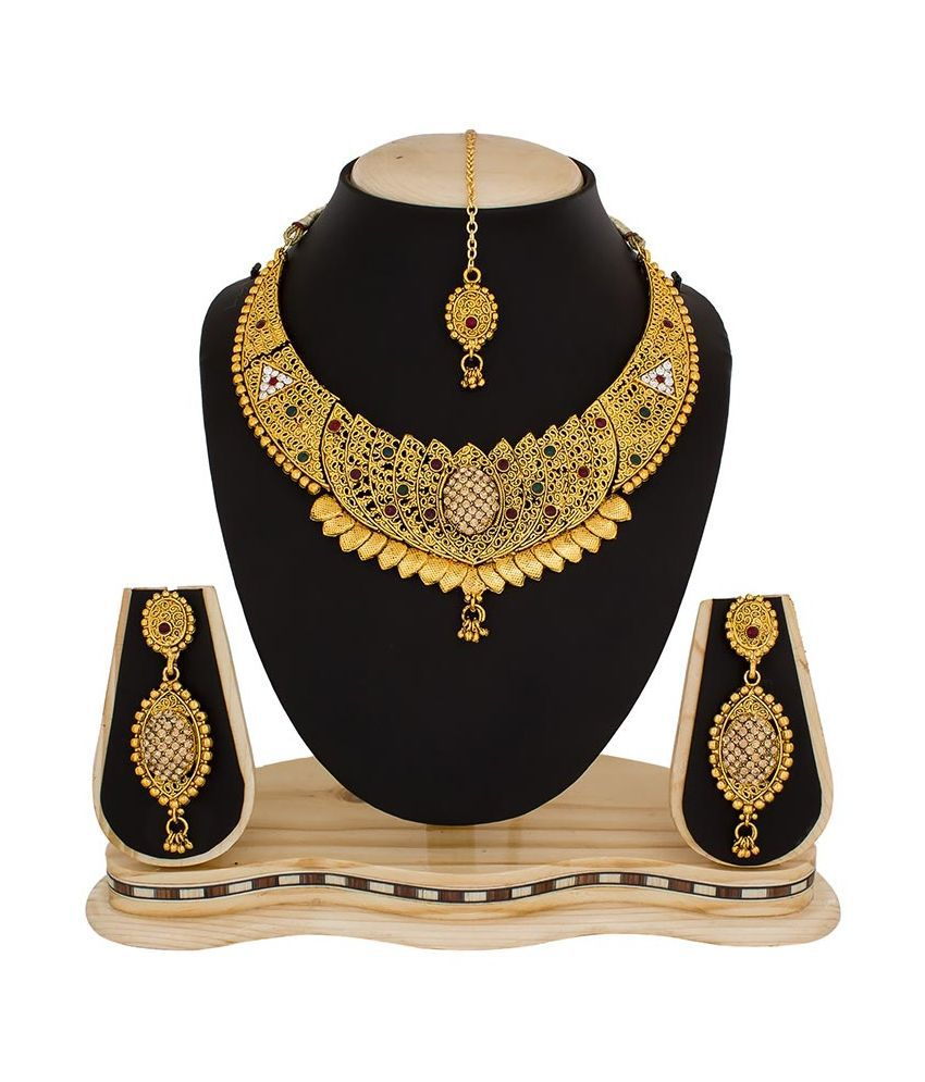 The Luxor Alloy Gold Plating Beads Studded Multi Coloured Necklaces Set