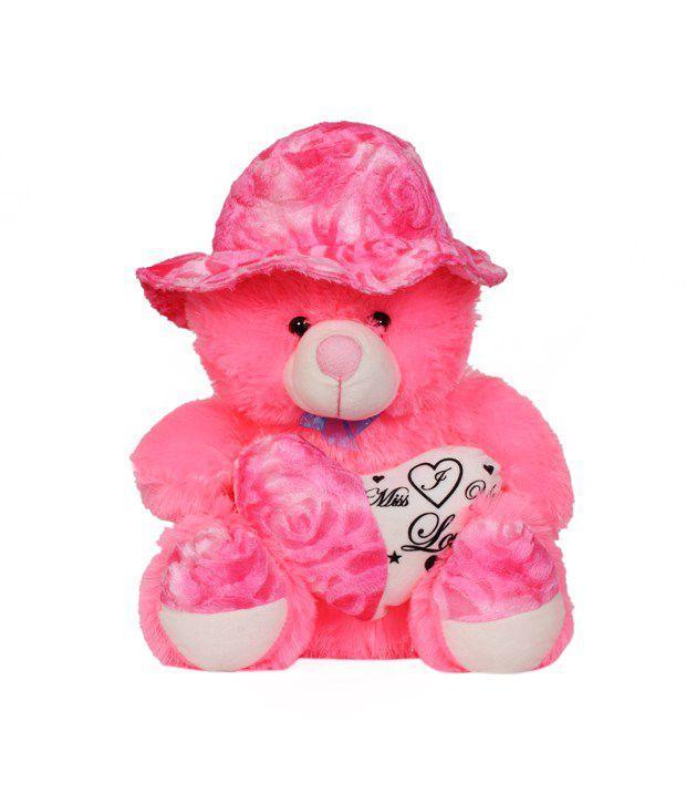 Unica Big Pink Cute Teddy Bear With Round Cap U0026 Heart ...