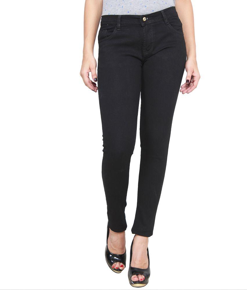 Ansh Fashion Wear Black Cotton Lycra Jeans