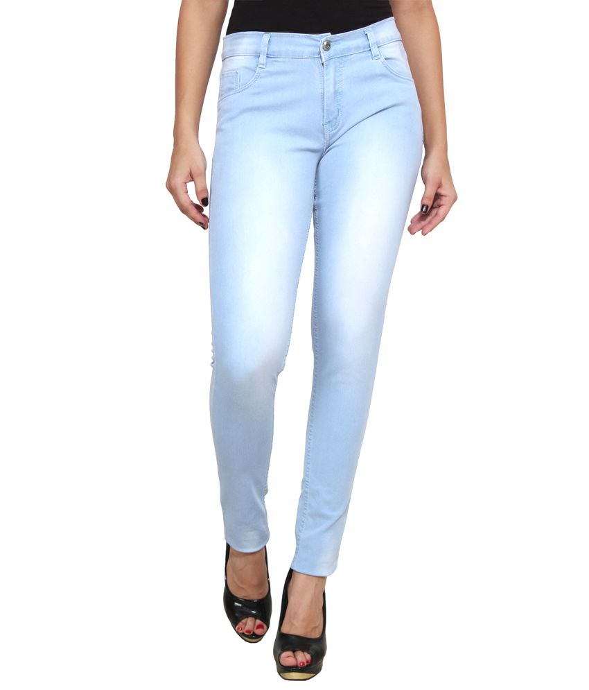 Ansh Fashion Wear Blue Cotton Lycra Jeans