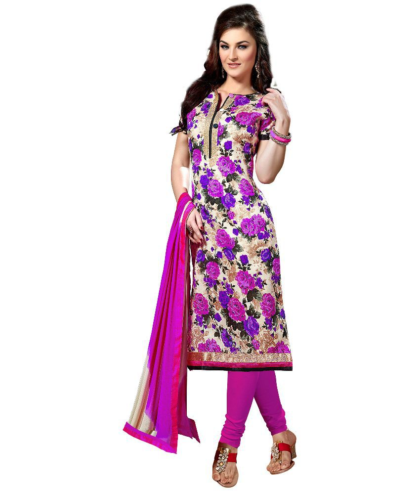 Arun's Multicoloured Bhagalpuri Silk Straight Unstitched Dress Material