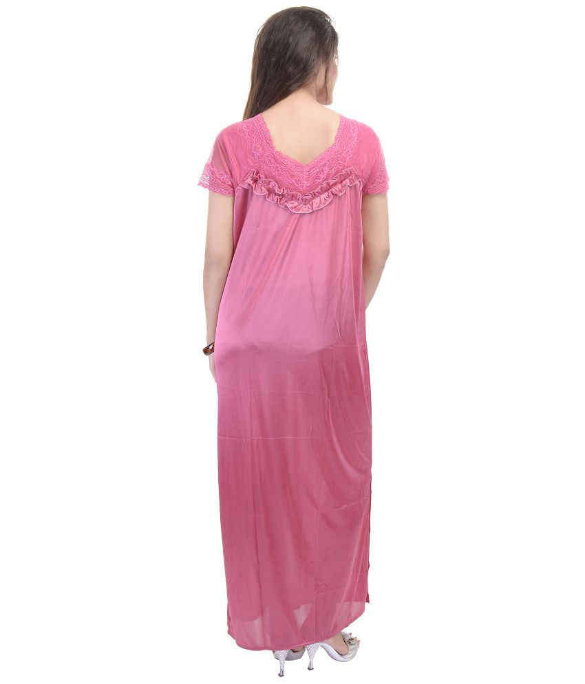 Buy Rajasthani Sarees Pink Satin Nighty   Night Gowns Online at Best Prices  in India - Snapdeal 59ad7359e