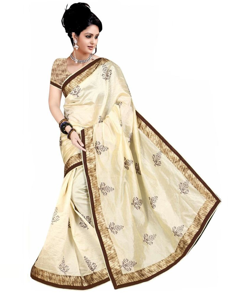 Yash Prints White and Beige Bhagalpuri Silk Saree