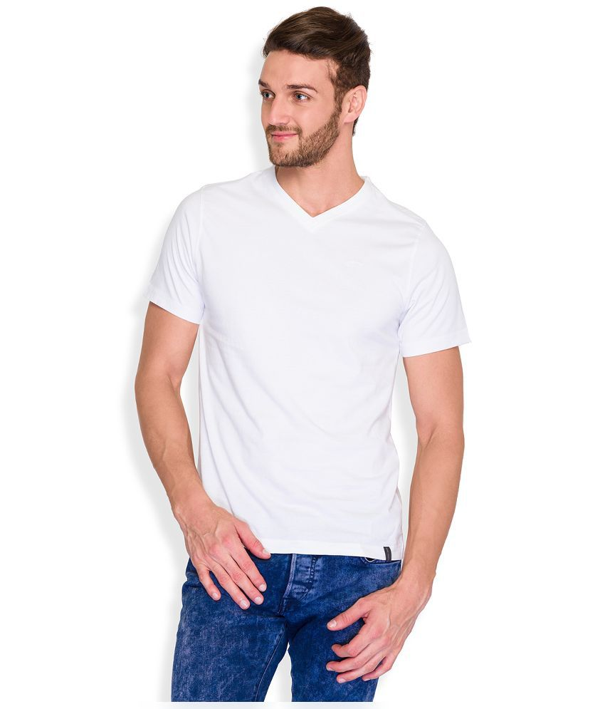 Park Avenue White V-Neck T Shirt