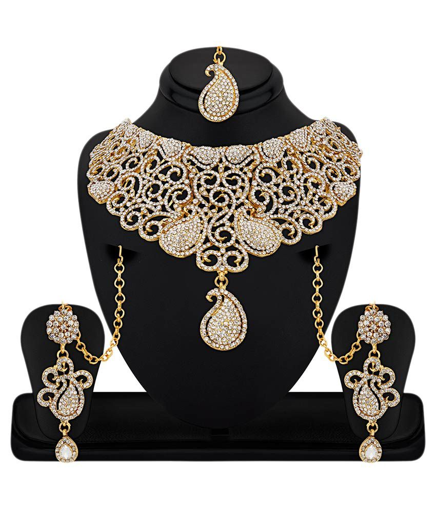 RG Fashions Alloy Gold Plating Stones Studded Gold Coloured Necklaces Set